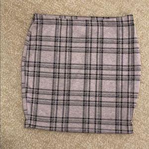 Popular 21 Pink Gray Plaid Mini Skirt